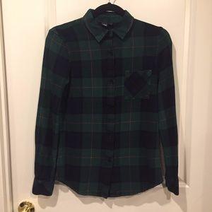 Simon's Icone green/navy plaid flannel shirt